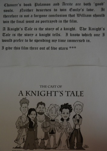 a knights tale essay In the 'middle ages', wealth was controlled by the knights and the clergy merchants, living on the outskirts of society, were condemned.
