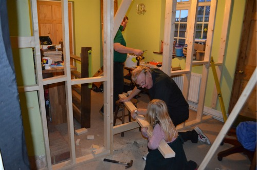 Constructing the wall with any little helpers who happened to want to help Grandad