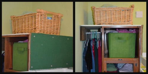 On the lhs you can see the pin board, and on the rhs you can see it as I am filling it up with clothes