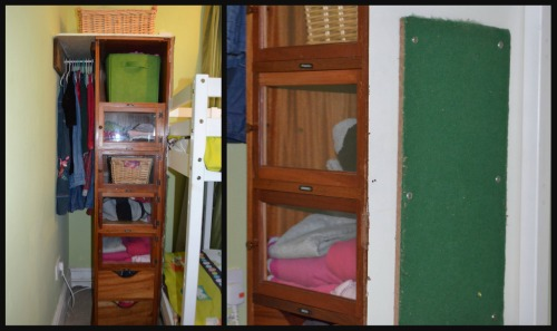 On the left is the wardrobe filled and on the right you can see the pinboard at the bottom