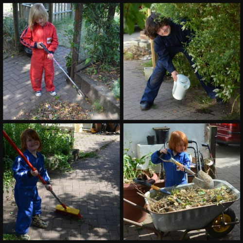 The girls tidying and weed killing