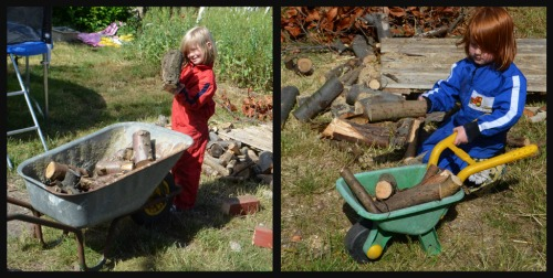 We all helped collect the small logs