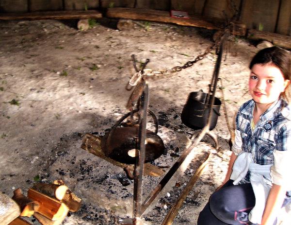 Butser Farm-celts-homeschool-field trip-cooking on fire