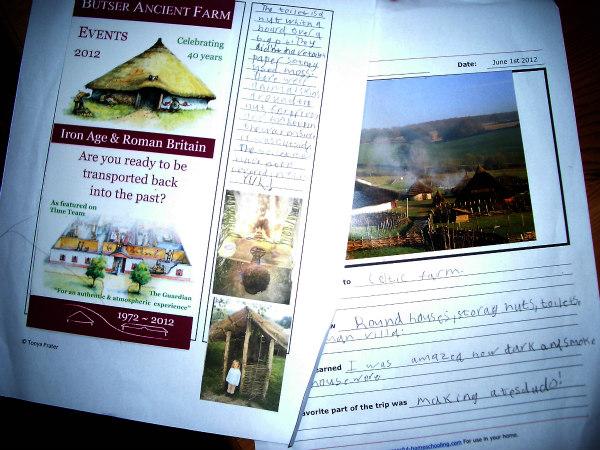 Butser Farm-celts-homeschool-field trip-note page